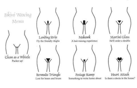 Different bikini wax diagrams